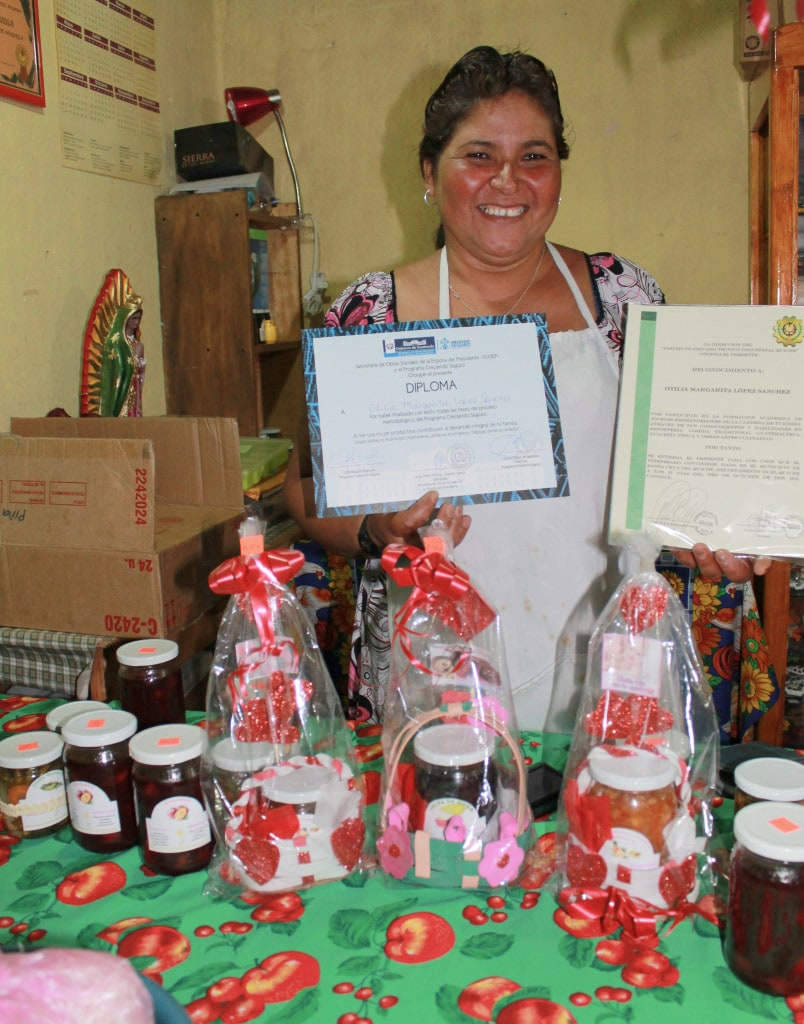 Otilia - Entrepreneur client. Otilia produces jams and jellies using her own award-winning recipe. She has been invited to present her products at fairs in Guatemala City and Los Angeles, California.